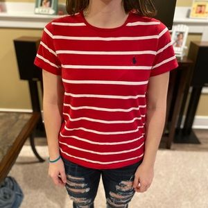 Polo red and white striped t-shirt